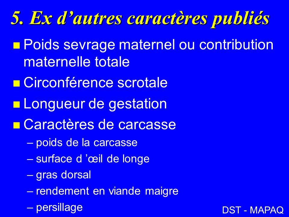 5. Ex dautres caractères publiés n Poids sevrage maternel ou contribution maternelle totale n Circonférence scrotale n Longueur de gestation n Caractè