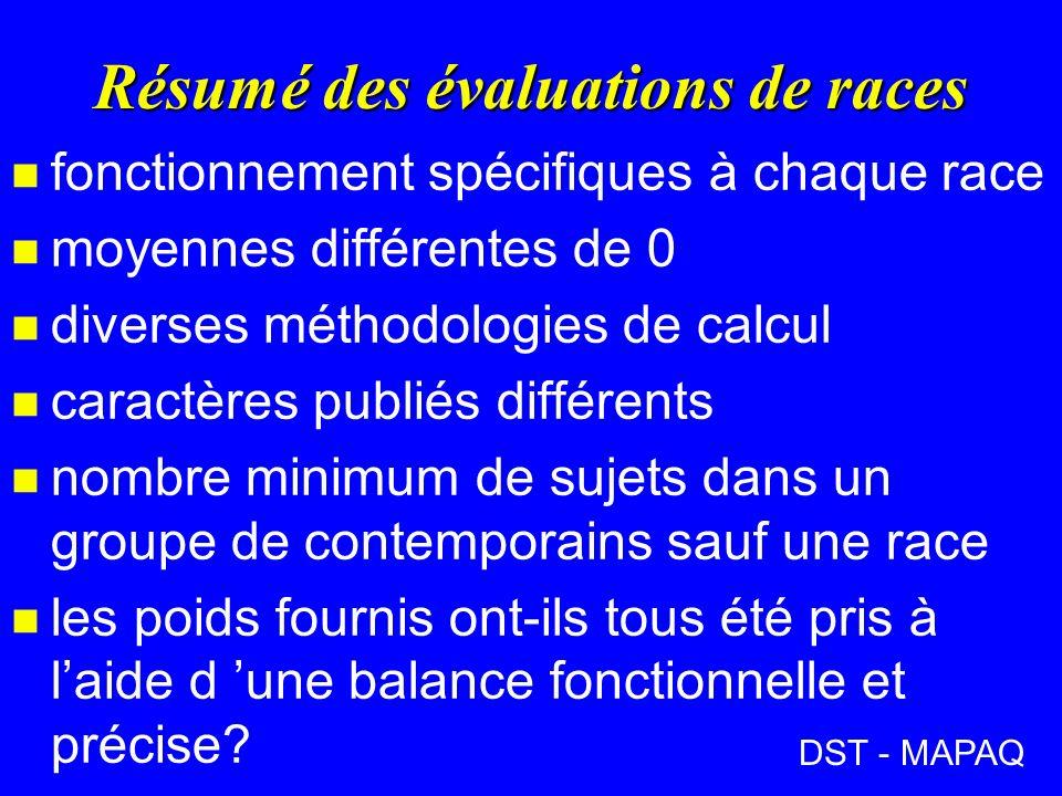 DST - MAPAQ Résumé des évaluations de races n fonctionnement spécifiques à chaque race n moyennes différentes de 0 n diverses méthodologies de calcul n caractères publiés différents n nombre minimum de sujets dans un groupe de contemporains sauf une race n les poids fournis ont-ils tous été pris à laide d une balance fonctionnelle et précise