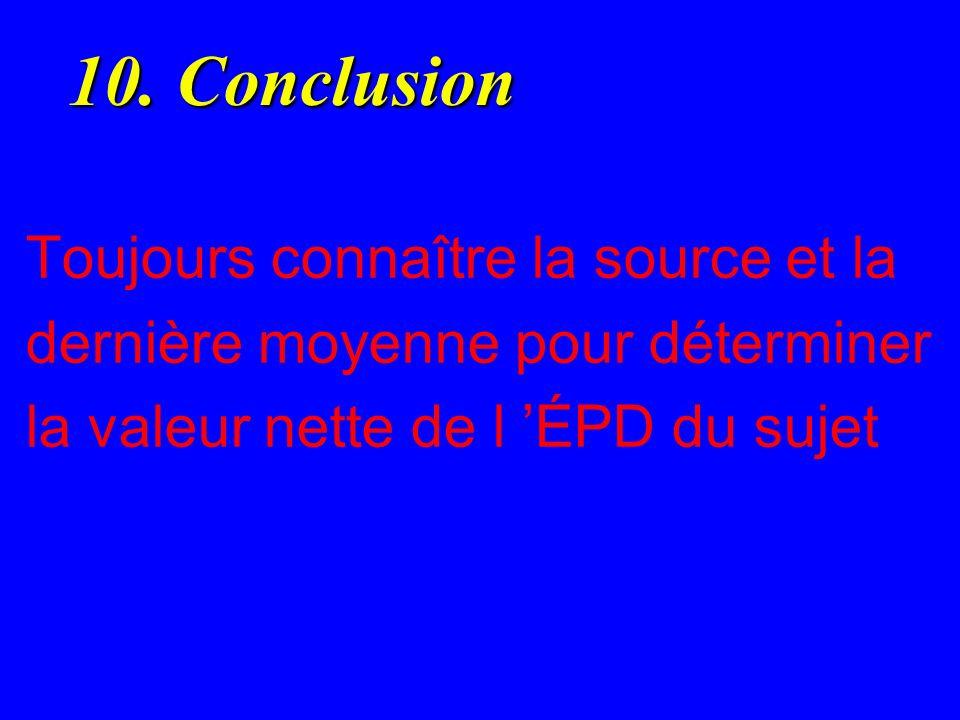 10. Conclusion 10. Conclusion Toujours connaître la source et la dernière moyenne pour déterminer la valeur nette de l ÉPD du sujet