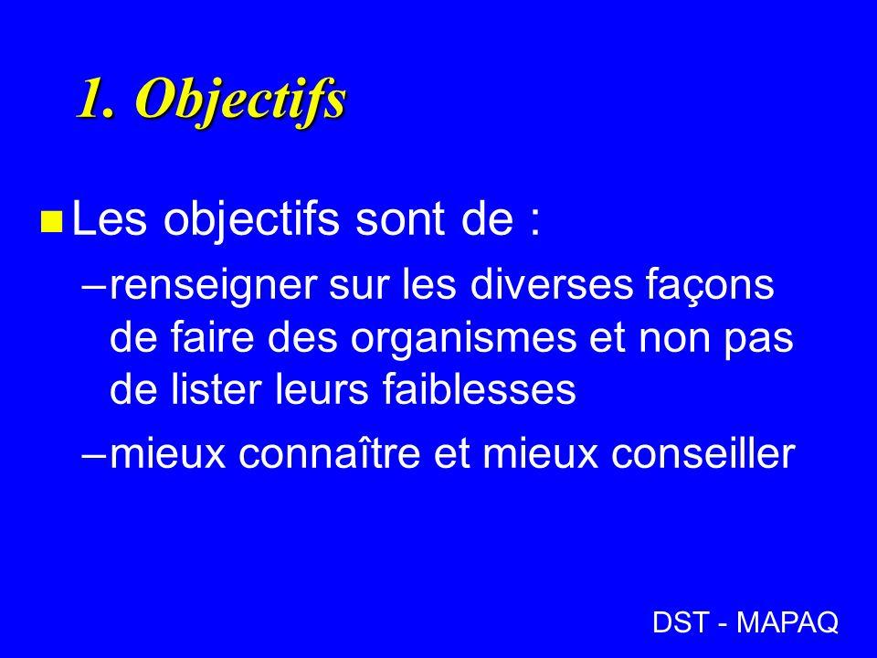 1. Objectifs n Les objectifs sont de : –renseigner sur les diverses façons de faire des organismes et non pas de lister leurs faiblesses –mieux connaî