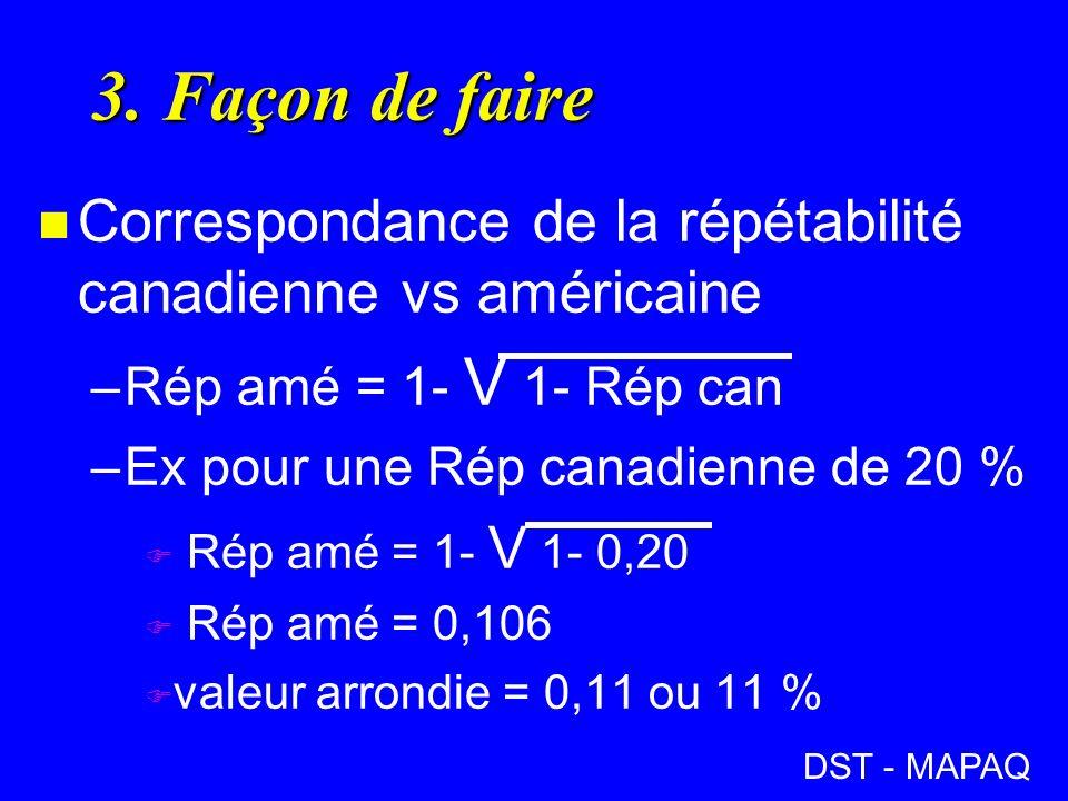 3. Façon de faire n Correspondance de la répétabilité canadienne vs américaine –Rép amé = 1- V 1- Rép can –Ex pour une Rép canadienne de 20 % F Rép am