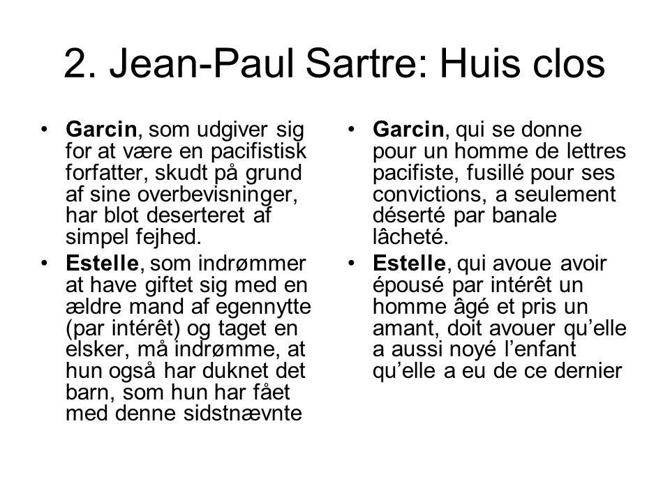 2. Jean-Paul Sartre: Huis clos Garcin, som udgiver sig for at være en pacifistisk forfatter, skudt på grund af sine overbevisninger, har blot deserter