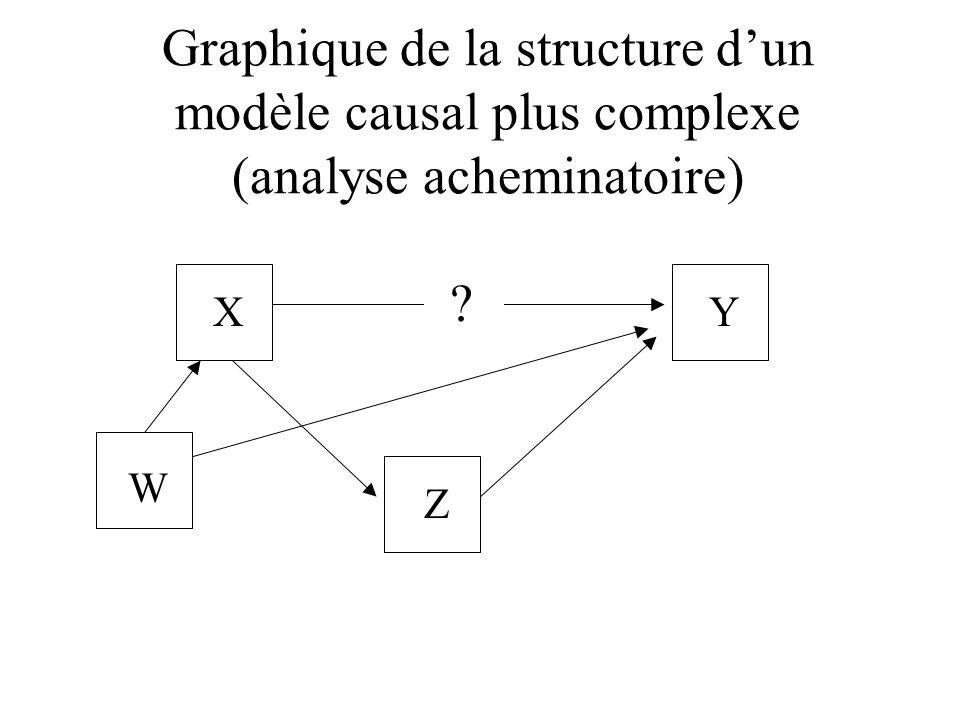 Graphique de la structure dun modèle causal plus complexe (analyse acheminatoire) XY Z ? W