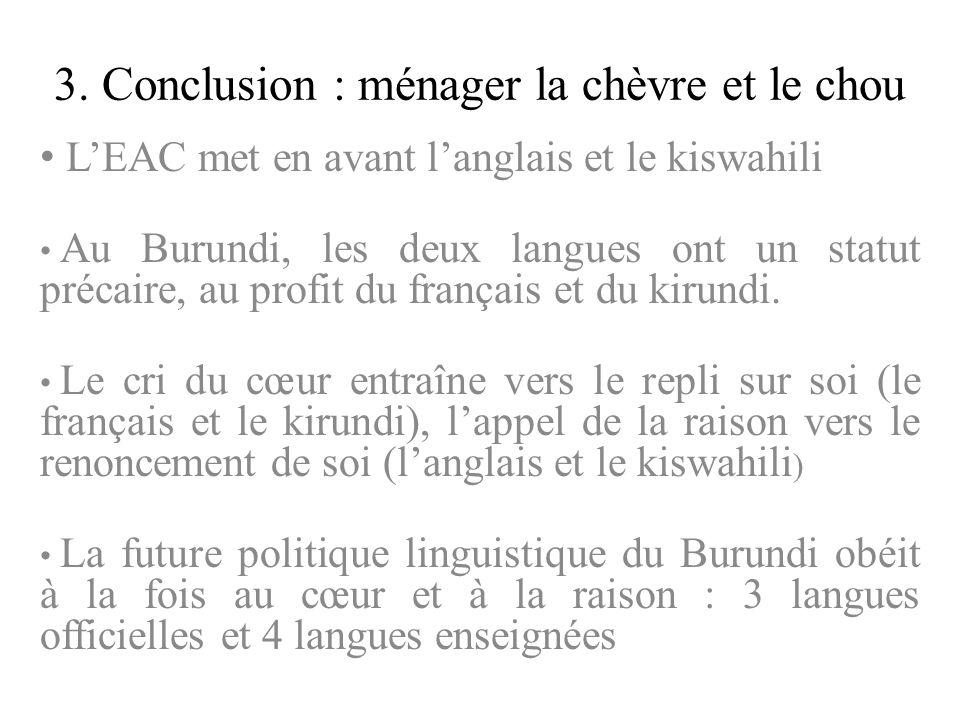 3. Conclusion : ménager la chèvre et le chou LEAC met en avant langlais et le kiswahili Au Burundi, les deux langues ont un statut précaire, au profit