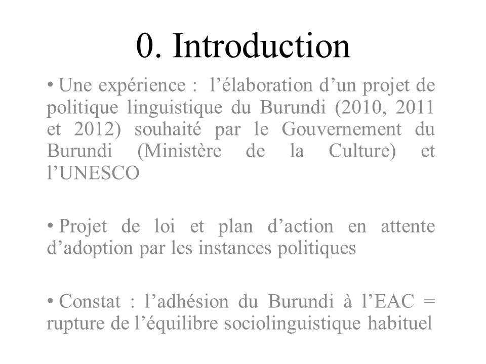 0. Introduction Une expérience : lélaboration dun projet de politique linguistique du Burundi (2010, 2011 et 2012) souhaité par le Gouvernement du Bur