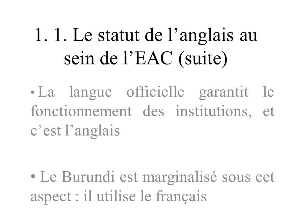 1. 1. Le statut de langlais au sein de lEAC (suite) La langue officielle garantit le fonctionnement des institutions, et cest langlais Le Burundi est