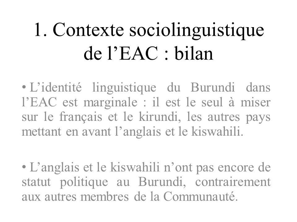 1. Contexte sociolinguistique de lEAC : bilan Lidentité linguistique du Burundi dans lEAC est marginale : il est le seul à miser sur le français et le
