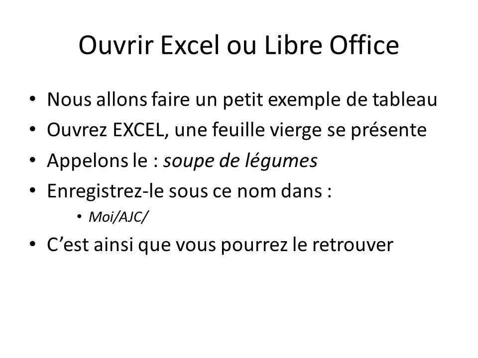 Ouvrir Excel ou Libre Office Nous allons faire un petit exemple de tableau Ouvrez EXCEL, une feuille vierge se présente Appelons le : soupe de légumes Enregistrez-le sous ce nom dans : Moi/AJC/ Cest ainsi que vous pourrez le retrouver