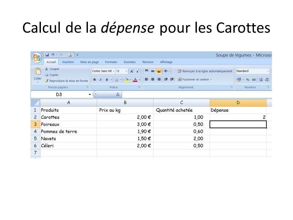 Calcul de la dépense pour les Carottes