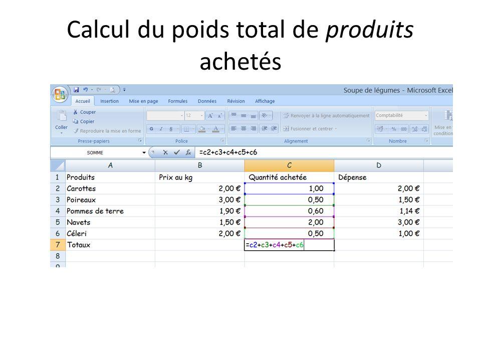 Calcul du poids total de produits achetés