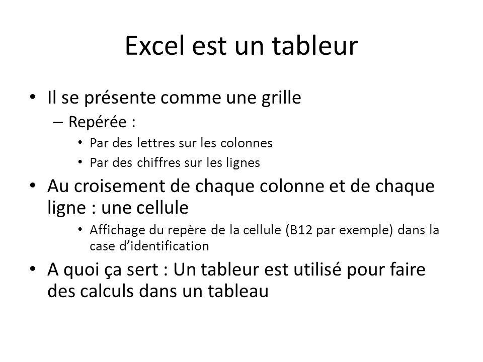 Excel est un tableur Il se présente comme une grille – Repérée : Par des lettres sur les colonnes Par des chiffres sur les lignes Au croisement de chaque colonne et de chaque ligne : une cellule Affichage du repère de la cellule (B12 par exemple) dans la case didentification A quoi ça sert : Un tableur est utilisé pour faire des calculs dans un tableau