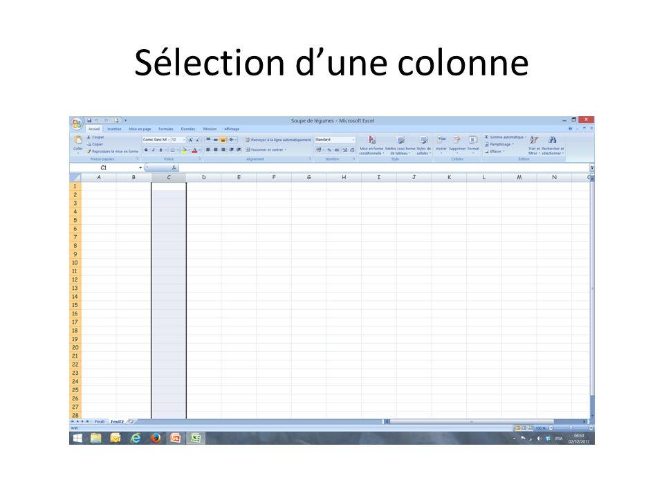 Sélection dune colonne