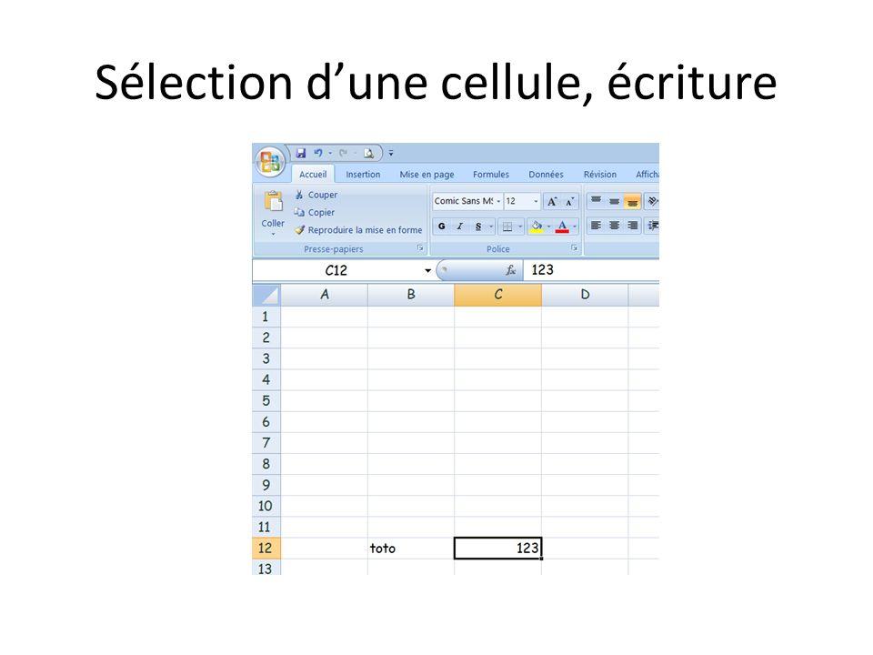 Sélection dune cellule, écriture