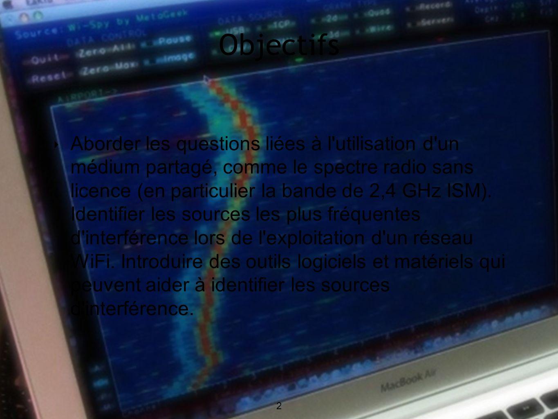 2 Objectifs 2 Aborder les questions liées à l utilisation d un médium partagé, comme le spectre radio sans licence (en particulier la bande de 2,4 GHz ISM).