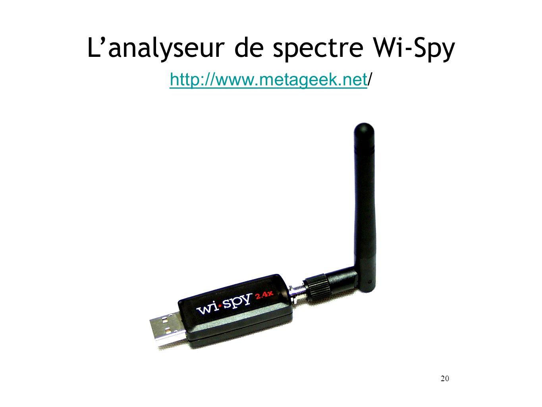 20 http://www.metageek.nethttp://www.metageek.net/ Lanalyseur de spectre Wi-Spy