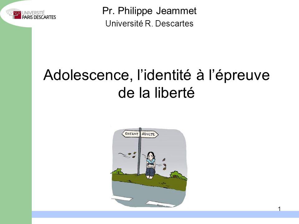 1 Adolescence, lidentité à lépreuve de la liberté Pr. Philippe Jeammet Université R. Descartes