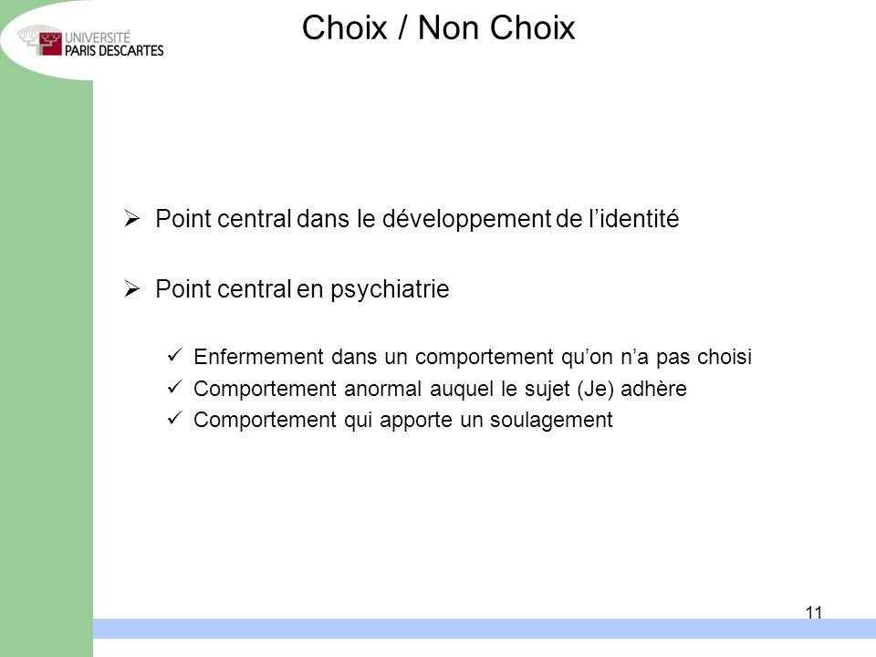 11 Point central dans le développement de lidentité Point central en psychiatrie Enfermement dans un comportement quon na pas choisi Comportement anor