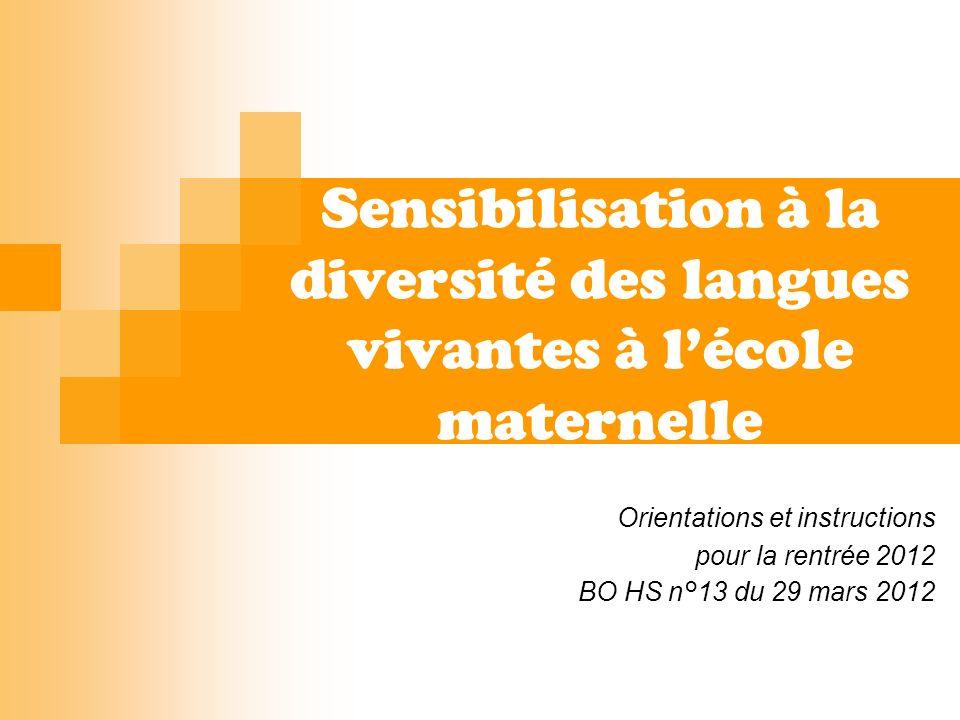 Rappel du parcours linguistique des élèves : Sensibilisation à la diversité des langues dès la maternelle.