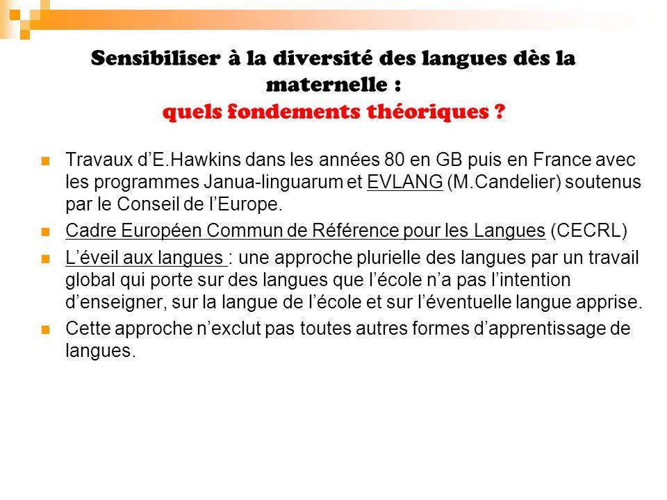Sensibiliser à la diversité des langues dès la maternelle : quels enjeux .