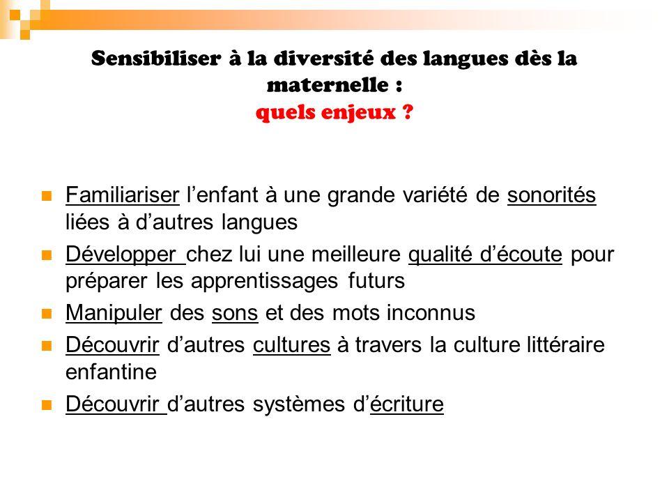Sensibiliser à la diversité des langues dès la maternelle : Comment .