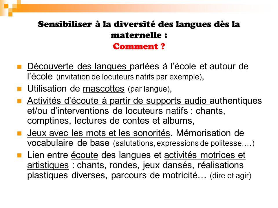 Sensibiliser à la diversité des langues dès la maternelle : Quand .