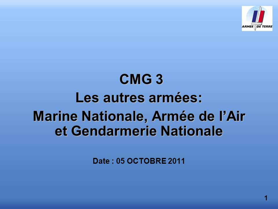 CMG 3 Les autres armées: Marine Nationale, Armée de lAir et Gendarmerie Nationale Date : 05 OCTOBRE 2011 1