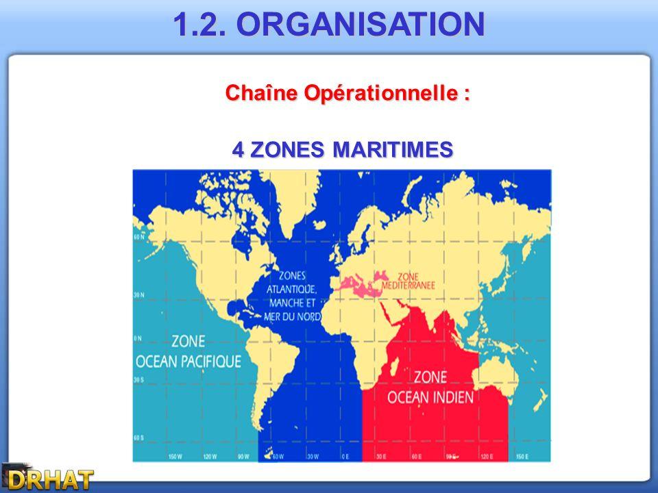 Chaîne Opérationnelle : 4 ZONES MARITIMES 1.2. ORGANISATION