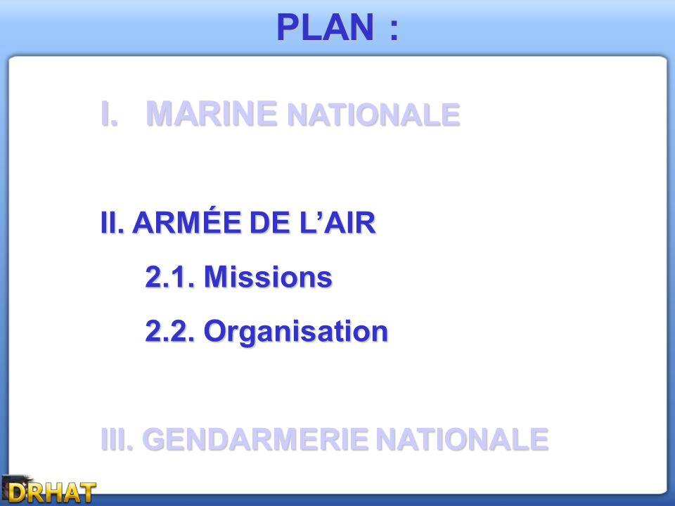 PLAN : I.MARINE NATIONALE II. ARMÉE DE LAIR 2.1. Missions 2.2. Organisation III. GENDARMERIE NATIONALE