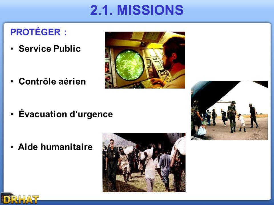 PROTÉGER : Service Public Contrôle aérien Évacuation durgence Aide humanitaire 2.1. MISSIONS