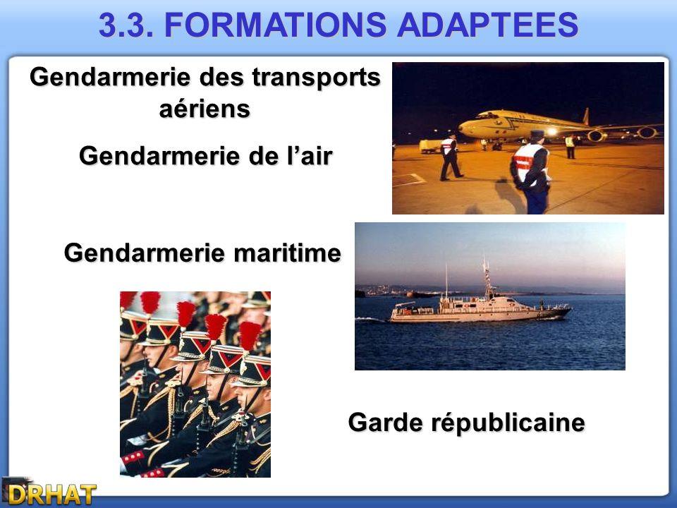 Gendarmerie maritime Garde républicaine Gendarmerie des transports aériens Gendarmerie de lair 3.3. FORMATIONS ADAPTEES