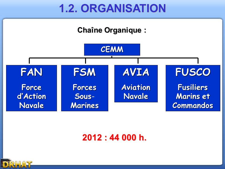 1.2. ORGANISATION Chaîne Organique : CEMM FSM Forces Sous Marines Forces Sous- MarinesAVIA Aviation Navale FUSCO Fusiliers Marinset Commandos Fusilier