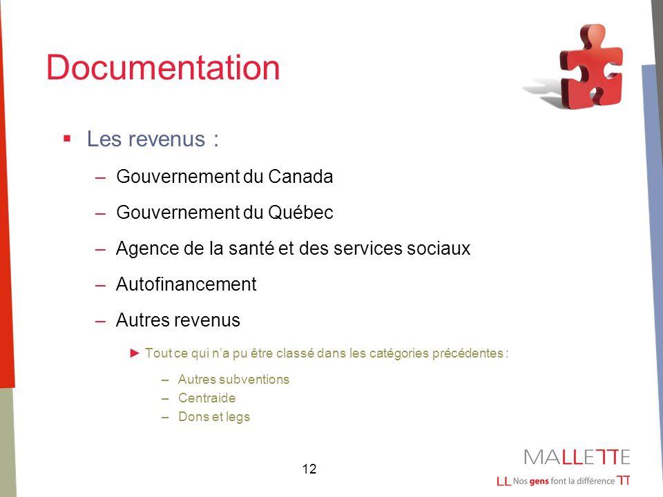 12 Documentation Les revenus : –Gouvernement du Canada –Gouvernement du Québec –Agence de la santé et des services sociaux –Autofinancement –Autres revenus Tout ce qui na pu être classé dans les catégories précédentes : –Autres subventions –Centraide –Dons et legs