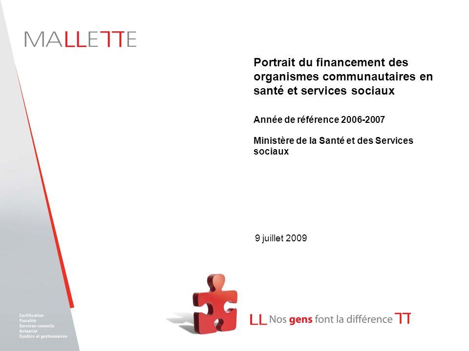 9 juillet 2009 Portrait du financement des organismes communautaires en santé et services sociaux Année de référence 2006-2007 Ministère de la Santé e