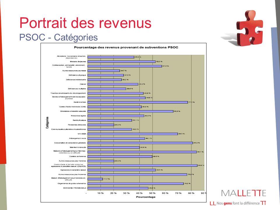 Portrait des revenus PSOC - Catégories