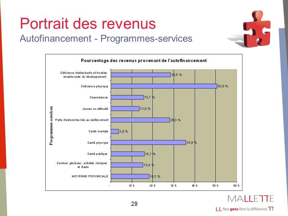 29 Portrait des revenus Autofinancement - Programmes-services