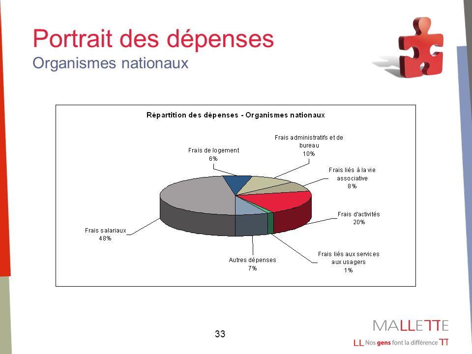 33 Portrait des dépenses Organismes nationaux