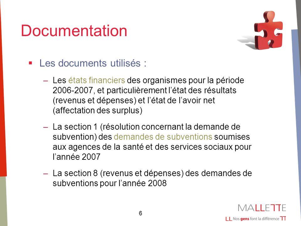 6 Documentation Les documents utilisés : –Les états financiers des organismes pour la période 2006-2007, et particulièrement létat des résultats (reve
