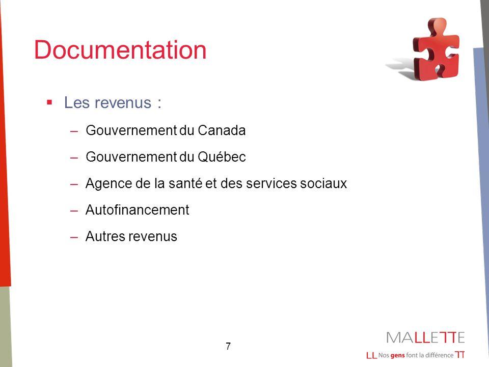 7 Documentation Les revenus : –Gouvernement du Canada –Gouvernement du Québec –Agence de la santé et des services sociaux –Autofinancement –Autres revenus