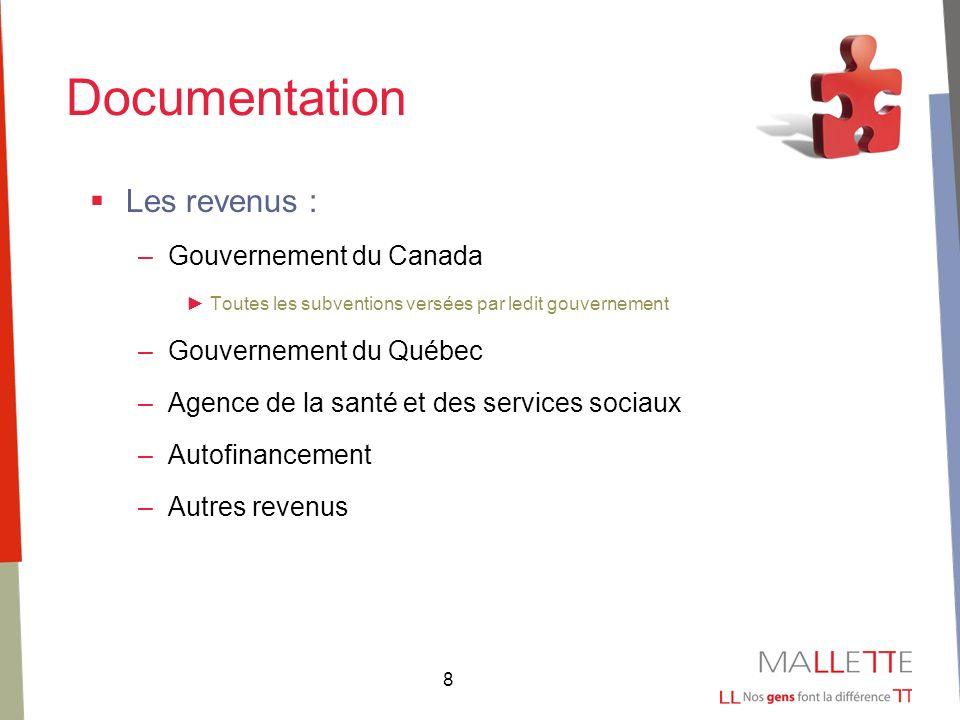 8 Documentation Les revenus : –Gouvernement du Canada Toutes les subventions versées par ledit gouvernement –Gouvernement du Québec –Agence de la santé et des services sociaux –Autofinancement –Autres revenus