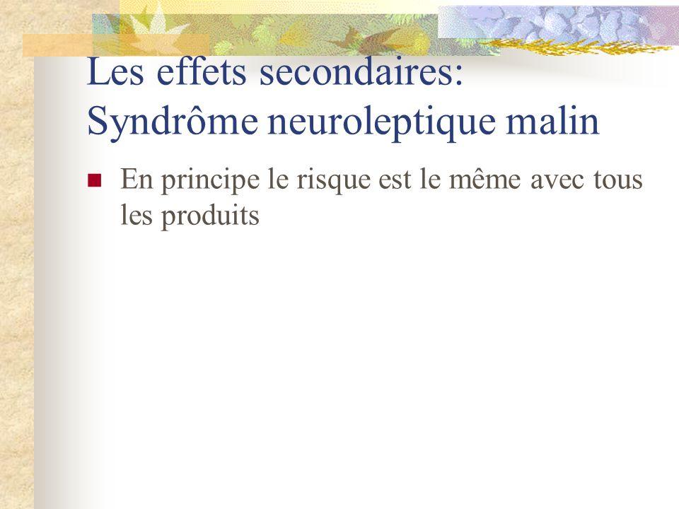 Les effets secondaires: Syndrôme neuroleptique malin En principe le risque est le même avec tous les produits