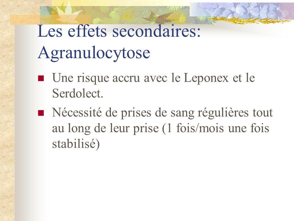 Les effets secondaires: Agranulocytose Une risque accru avec le Leponex et le Serdolect.