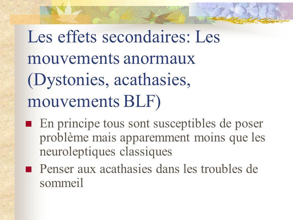 Les effets secondaires: Les mouvements anormaux (Dystonies, acathasies, mouvements BLF) En principe tous sont susceptibles de poser problème mais apparemment moins que les neuroleptiques classiques Penser aux acathasies dans les troubles de sommeil