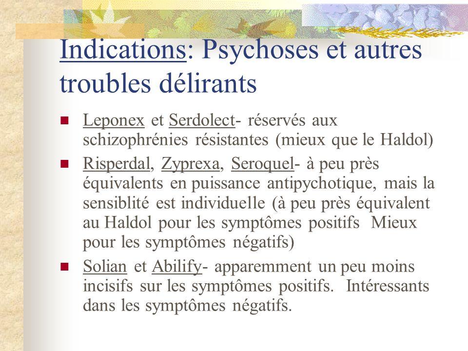 Indications: Psychoses et autres troubles délirants Leponex et Serdolect- réservés aux schizophrénies résistantes (mieux que le Haldol) Risperdal, Zyprexa, Seroquel- à peu près équivalents en puissance antipychotique, mais la sensiblité est individuelle (à peu près équivalent au Haldol pour les symptômes positifs Mieux pour les symptômes négatifs) Solian et Abilify- apparemment un peu moins incisifs sur les symptômes positifs.