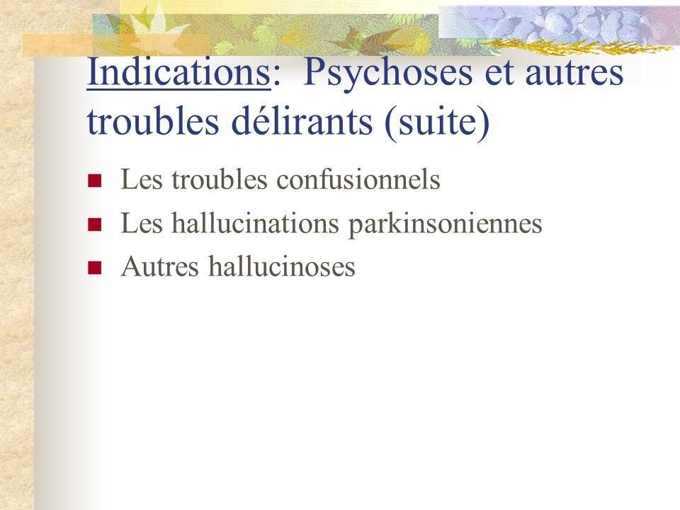 Indications: Psychoses et autres troubles délirants (suite) Les troubles confusionnels Les hallucinations parkinsoniennes Autres hallucinoses