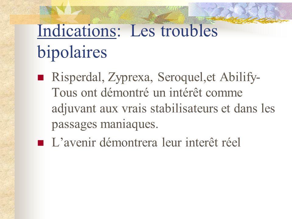 Indications: Les troubles bipolaires Risperdal, Zyprexa, Seroquel,et Abilify- Tous ont démontré un intérêt comme adjuvant aux vrais stabilisateurs et dans les passages maniaques.