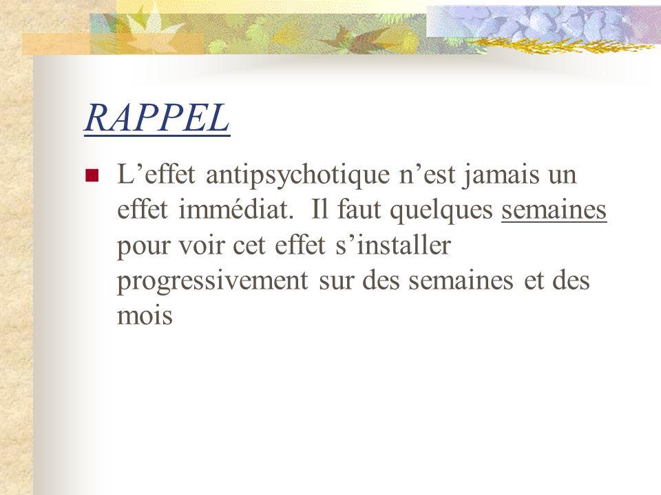 RAPPEL Leffet antipsychotique nest jamais un effet immédiat.