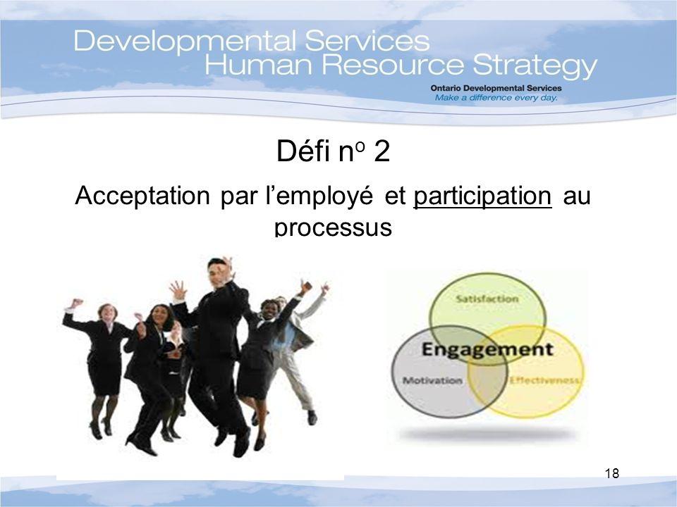 Défi n o 2 Acceptation par lemployé et participation au processus 18