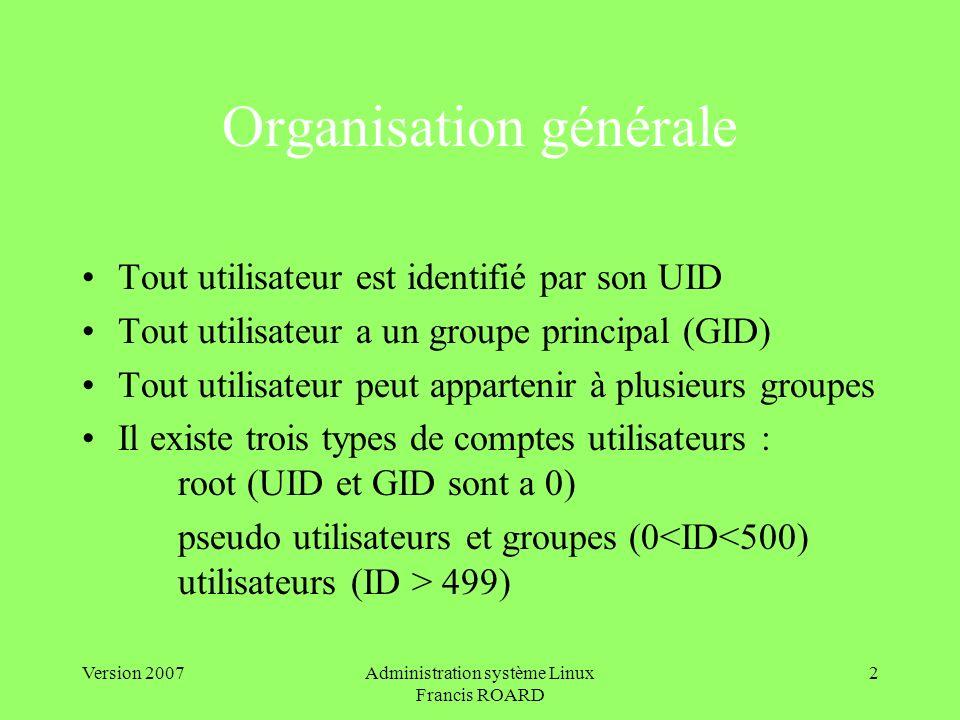 Version 2007Administration système Linux Francis ROARD 2 Organisation générale Tout utilisateur est identifié par son UID Tout utilisateur a un groupe principal (GID) Tout utilisateur peut appartenir à plusieurs groupes Il existe trois types de comptes utilisateurs : root (UID et GID sont a 0) pseudo utilisateurs et groupes (0 499)