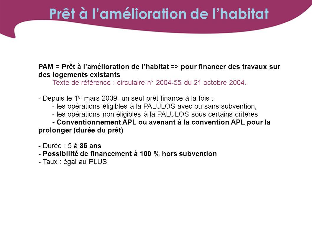 PAM = Prêt à lamélioration de lhabitat => pour financer des travaux sur des logements existants Texte de référence : circulaire n° 2004-55 du 21 octobre 2004.