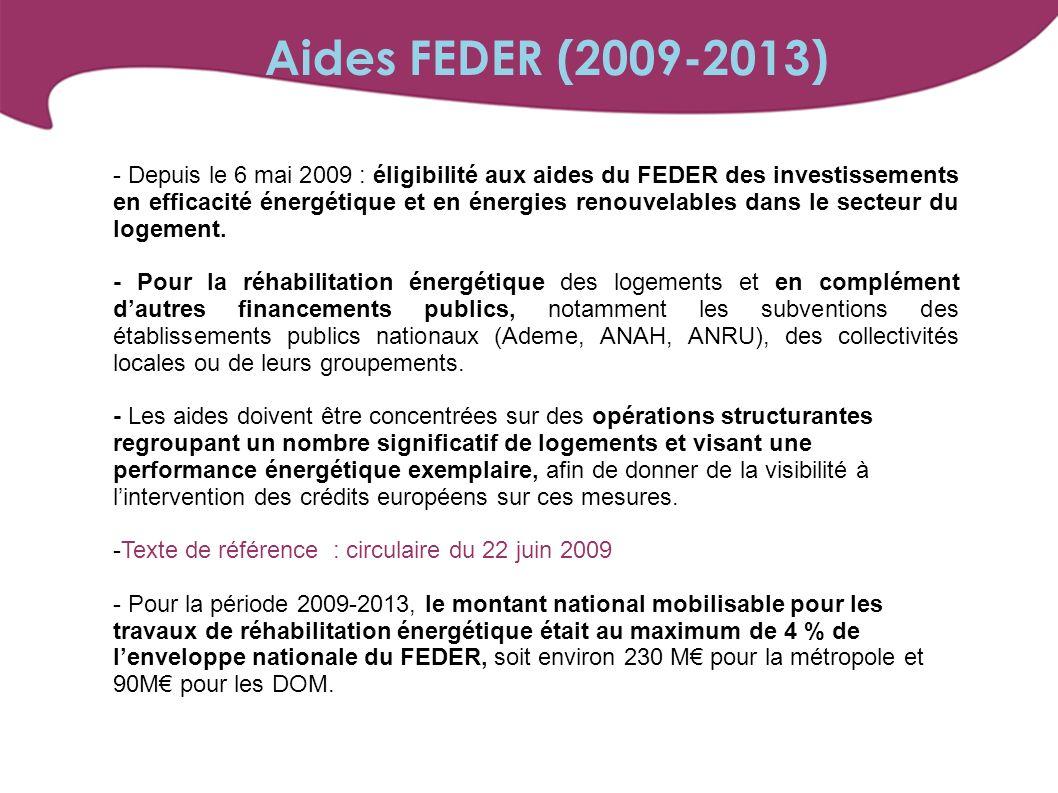 - Depuis le 6 mai 2009 : éligibilité aux aides du FEDER des investissements en efficacité énergétique et en énergies renouvelables dans le secteur du logement.